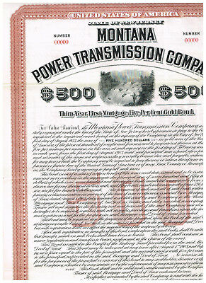 Montana Power Transmission Co., 1903, 500$, SPECIMEN