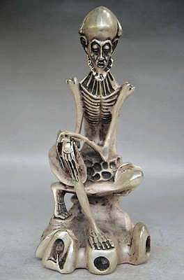Collectible Decorated Old Handwork Tibet Silver Carved Skull Buddha Statue