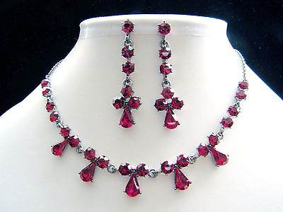 Vintage Necklace Earrings Set Siam Australia Crystals Party Jewelry Set N1120