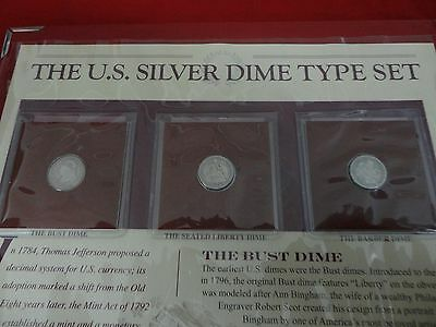 The U.S. Silver Dime Type Set From The Bradford Exchange Mint 5 Dime SET IN BOOK