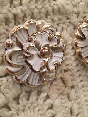 Lot Of 2 Vintage White All Metal Shabby Chic Flower Knobs Drawer Pulls French~