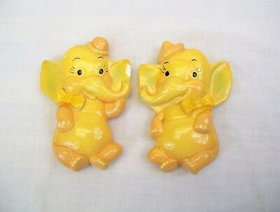 vintage Chalkware Elephant wall Plaques yellow pair with hats lot of 2