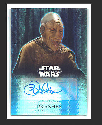 Star Wars The Force Awakens Autograph Mark Dodson as Prashee Refractor 41/50