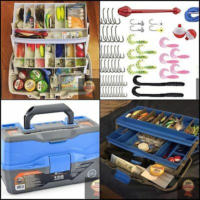 Large Fishing Kit Box Tackle with Lures 2 Trays 136 Pcs Assorted Tackle Hooks