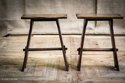 Antique Edwardian Pair of Oak Arts & Crafts Joint Stools