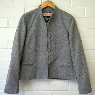 Vintage 1970s Wool Blend Grey Blazer Jacket Size Small 8 10 Sophia of Melbourne