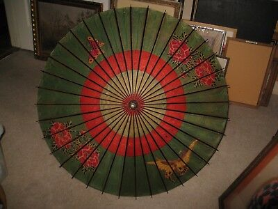 Antique Asian Hand Painted Wood & Paper Umbrella with Bamboo Handle
