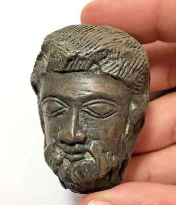 EXCEPTIONAL ANCIENT GREEK BRONZE HEAD OF ZEUS 103.1gr 55.1mm
