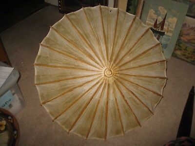 Antique Primitive Wood & Paper Umbrella with Wood Handle
