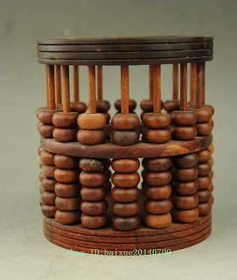 Chinese Wood Abacus Bead Round Statue Hollow out Brush Pot pencil