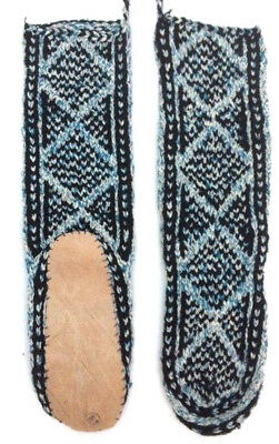FAIRTRADE ethnic HAND knit wool AFGHAN slipper SOCKS leather SOLE M 6-7-8ish M24