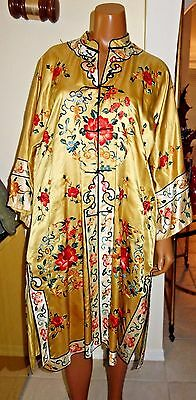 Antique Chinese embroidered silk jacket Gold colored floral motif