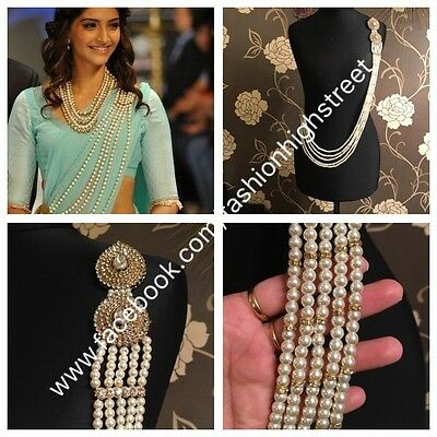 INDIAN Pakistani Sonam Kapoor Bridal Clear & Pearl Saree Belt, Saree Brooch,