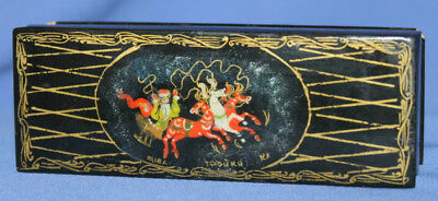 Vintage Russian Palekh Hand Painted Laquer Wood Box