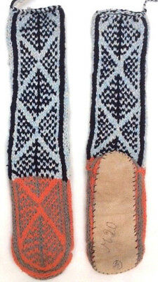 FAIRTRADE wool mix HAND knitted AFGHAN slipper SOCKS leather SOLE M 6-7-8ish M20