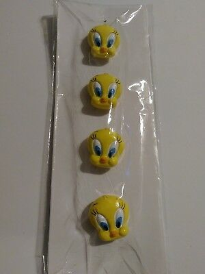 Looney Tunes Yellow Tweety Bird Head Face Button Covers Set of Four New in Pack