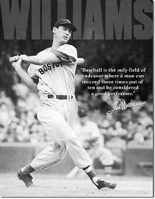 Ted Williams Baseball Quote Red Sox MLB Retro Vintage Wall Decor Metal Tin Sign