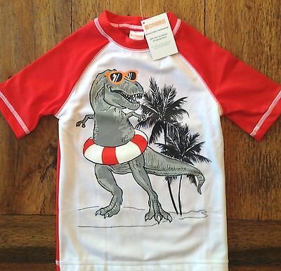 NWT Gymboree Size 4 5-6 T-Rex Rash Guard Swim Shirt - Palm Trees Dino Red Boys