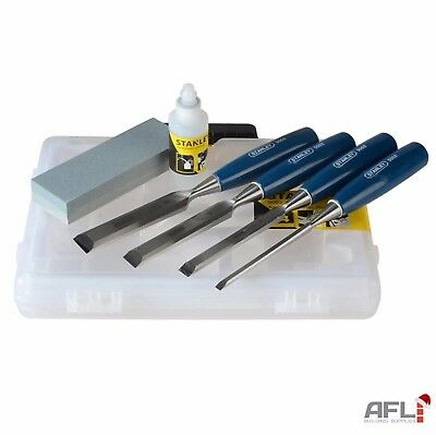 4 Piece Stanley 5002 Bevel Edge Wood Chisel Set with Oil & Sharpening Stone