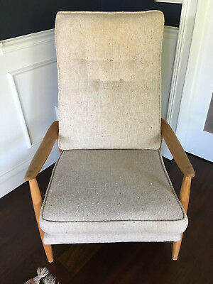 Vtg Mid Century Modern / Hollywood Regency Milo Baughman Danish Recliner Rocker