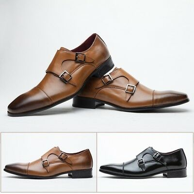 New Men's Monk Strap Shoes Pointed Toe Dress Shoes Classic Double Buckle Brogue
