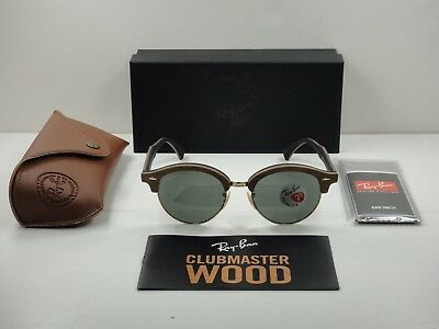 d26bf83519 Ray-Ban Clubround Wood Sunglasses Rb4246M 118158 Brown green Polarized Lens  51Mm