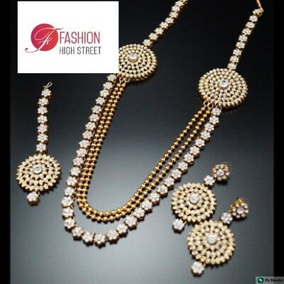 Indian Bollywood Rani Haar, light weight Clear stones necklace, earrings, Tikka.