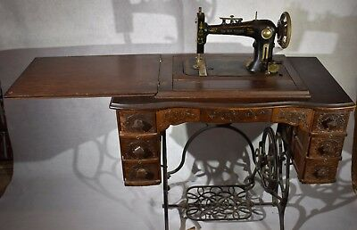 Antique Sew Well Steinway 6 Drawer Sewing Machine with Table / Wood Stand