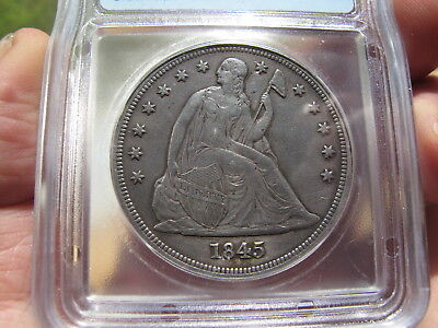 1845 Seated Liberty Dollar AU-50 Details only 24,500 Minted