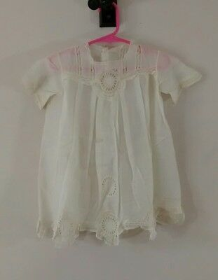 Antique Cutwork Medallion Floral Ivory Dress Lace Trim For Baby or Doll Cotton