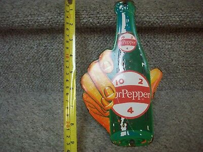 A++ 1930's DR PEPPER SODA POP PORCELAIN LICENSE PLATE TOPPER-SIGN PEPSI-COKE