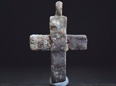 Ancient Viking Hammered Silver CROSS. Small Pendant Amulet, circa 950-1000 AD.