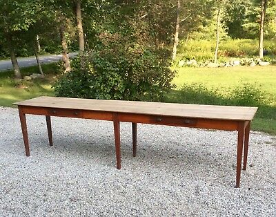 Antique Original 12 Ft Long Farm Table Kitchen Island Workbench Industrial