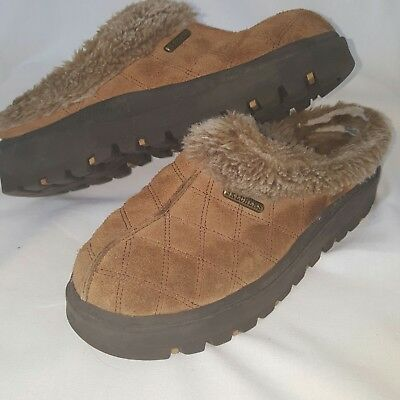 Skechers Womens size 8.5 Clogs tan Suede Leather with Faux Fur Slip On Mules