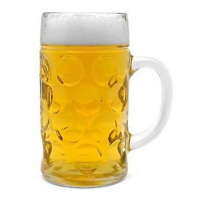 Libbey Borgonovo Oktoberfest Glass Masskrug 42 Ounce Dimpled Glass Beer Stein...