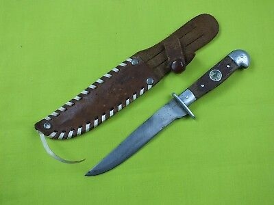 Vintage Mini Hunting Fighting Knife With Compass & Leather Sheath