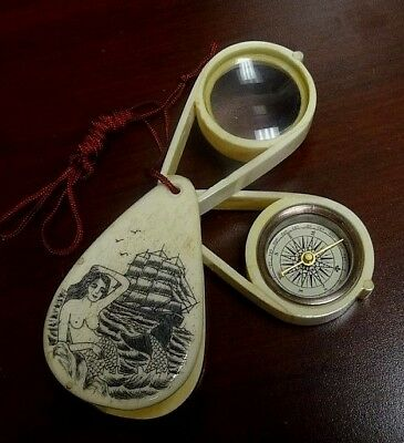 Antique Scrimshawed Erotica Magnifying Glass or Jeweler's Loupe w/ Compass.