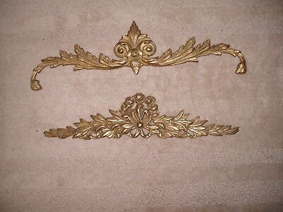 2 Brass Pediments Door Header,french Chic, Hollywood Regency Cottage