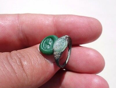 Roman bronze, glass intaglio ring,displayed a bust of Marciana,sister of Trajan
