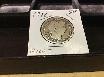 1912  Silver Barber Half Dollar - Good + (Low Mintage)