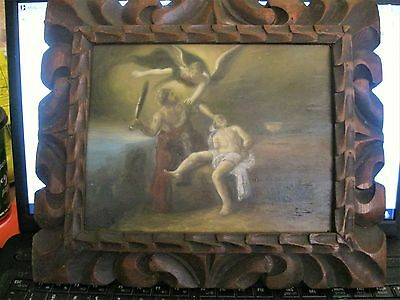 Antique Biblical Theme Oil Painting On Wood With Very Nice Wood Frame Excellent