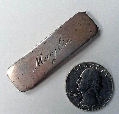 Vintage Sterling Silver Barrette Hair Ornament Engraved Maylie