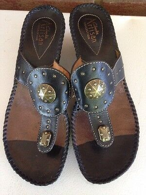 ca1d8ec977fe82 Clarks Artisan Dark Gold Leather Flower Thong Wedge Sandals size 6.5 ...