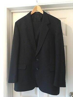 Vintage Dunn & Co Navy Pinstripe Wool blend Two Piece Suit Chest 42 Waist 38