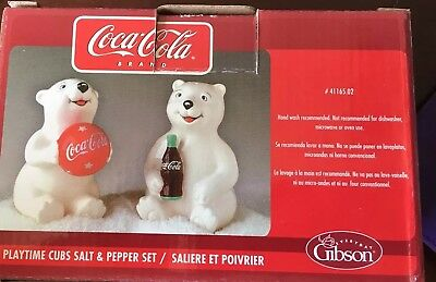 COCA-COLA Salt and Pepper Shaker Set - Polar Bear Playtime Cubs Gibson 2005