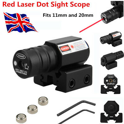 Tactical Red Laser Dot Sight Scope Air Rifle Pistol 11/20mm Hunting Rail Mount U