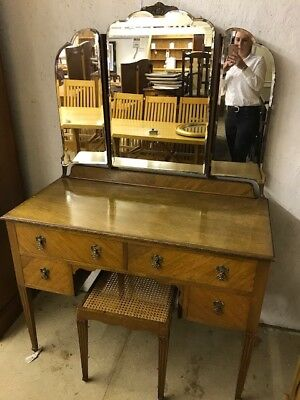 Vintage Solid Oak Dressing Table And Stool