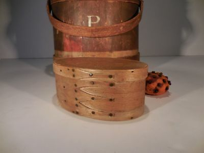 AAFA 19th c Shakers Swallowtail Shaker Bentwood Oval Box Antique Pantry Box