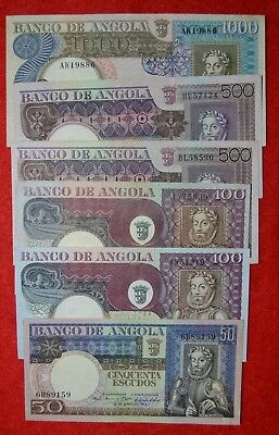 Portugal /  Angola /  6 Old Banknotes Lot N11
