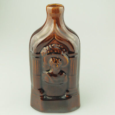 Rockingham Antique Pottery Commemorative treacle glazed Gin Whiskey Flask C.19th
